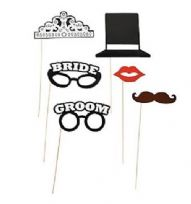Bride & Groom Stick Photo Props